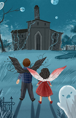 Middle grade fantasy characters in front of spooky asylum with ghosts