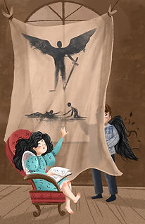Middle grade fantasy characters telling spooky story with book and shadow puppets