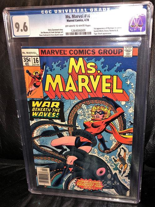 Ms. Marvel #16 CGC Graded 9.6 1st Cameo of Mystique!