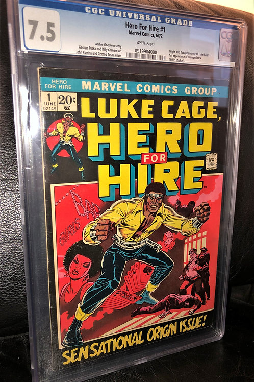HERO FOR HIRE #1 CGC GRADED 7.5 WHITE PAGES