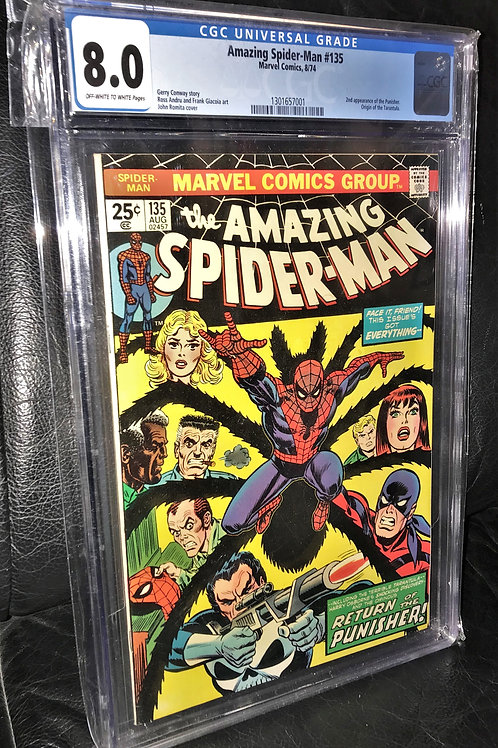 Amazing Spider-Man #135 CGC Graded 8.0 Off-White to White Pgs.