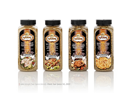 """""""Sun"""" spices packaging design for bulk boxes"""