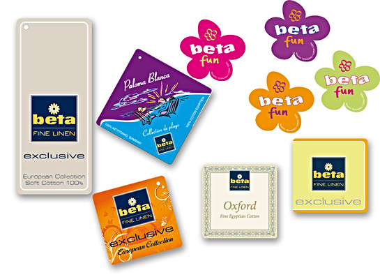 Product labels for Beta Fine Linens