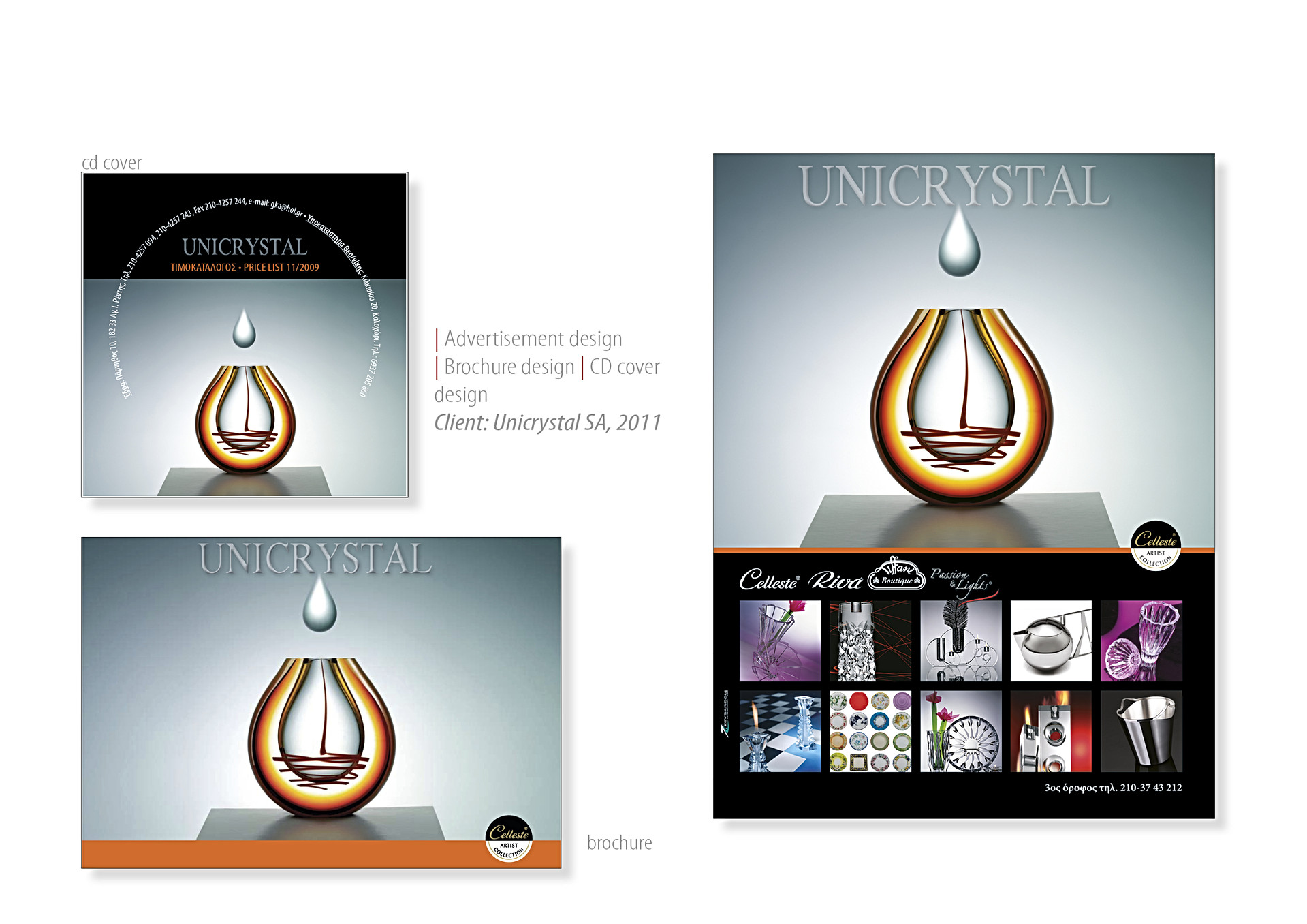 Unicrystal SA ads and promotional material