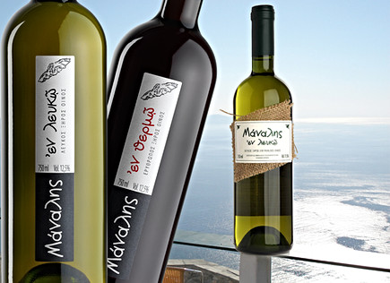 Label designs for Manalis winery, Sikinos