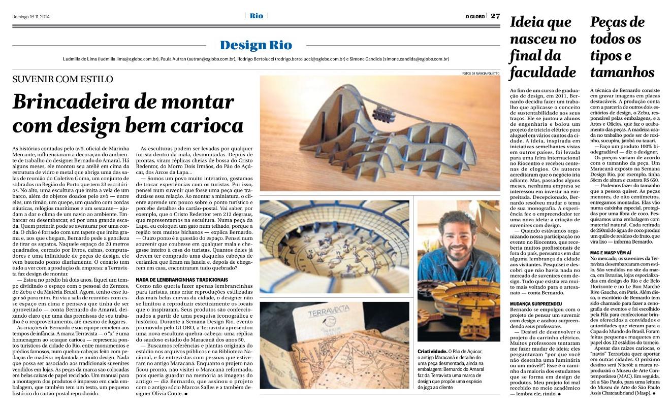 Bernardo no Jornal O Globo