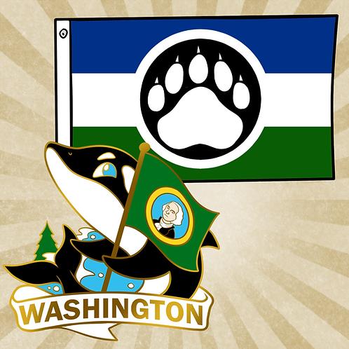 Cascadia Flag & Washington Pin Combo