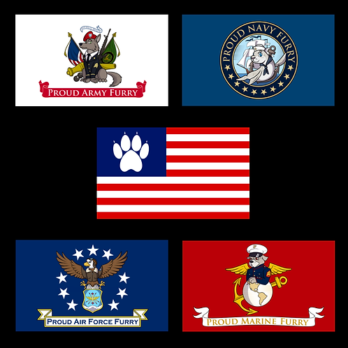 Furry US Military Flags