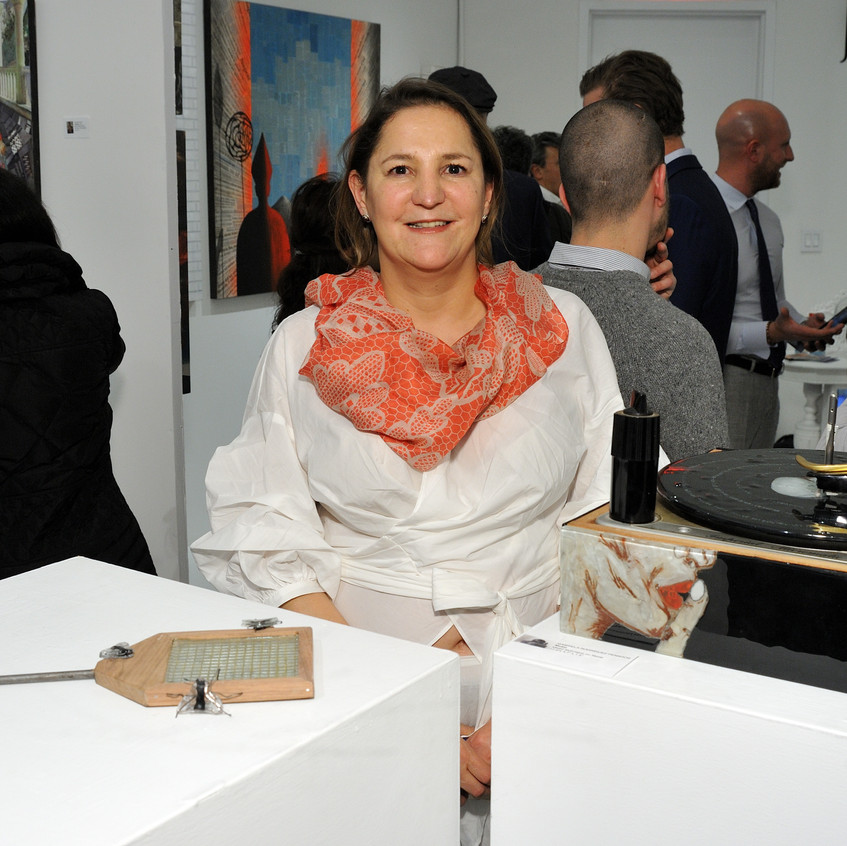 Artist Gabriela Rodriguez with her works at the CLIO Art Fair at 508 W. 26 in New York, NY on March 2, 2017. (Photo by Stephen Smith_Guest of a Guest)