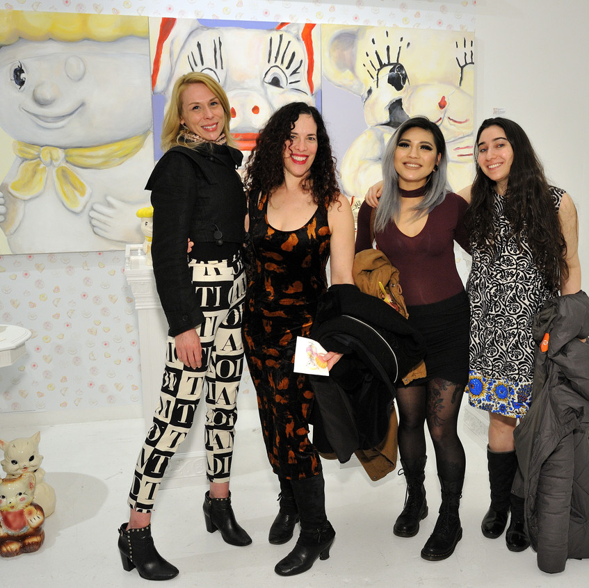 Artist Hayley Palmatier, Alexis Karl, Eleanor Cadavillo and Julia C attend the CLIO Art Fair at 508 W. 26 in New York, NY on March 2, 2017. (Photo by Stephen Smith_Guest of a Guest)