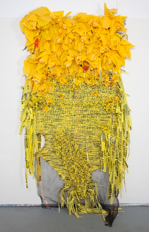 Borinquen_Gallo_Field_Guide_to_Narcissism_Debris_netting,_yellow_plastic_bags,_c