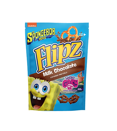 FLIPZ MILK CHOCOLATE COVERED PRETZELS SPONGEBOB