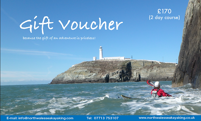 North Wales Sea Kayaking Gift Voucher, North Wales Sea Kayaking, Sea Kayaking Anglesey