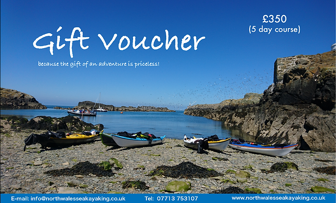 North Wales Sea Kayaking Gift vouchers for sea kayaing in Anglesey with North Wales Sea Kayaking