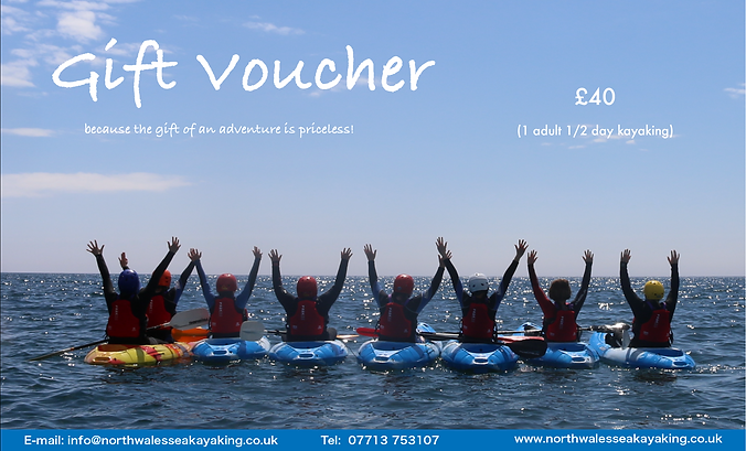 Adult half day sea kayaking voucher with North Wales Sea Kayaking, Anglesey for Sea Kayaking in Wales