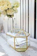 Glass and Brass Card Box 33cm wide x 22c