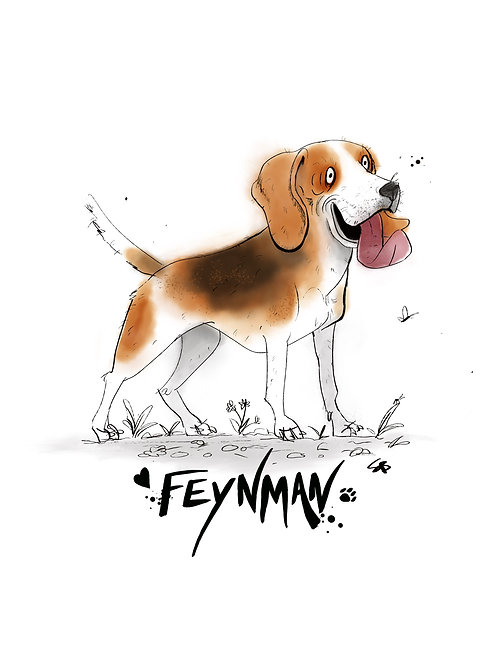 Customised A4 Beagle dog art print