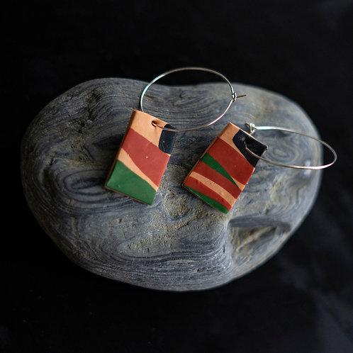 Safari Tablet Hoop - handmade earrings