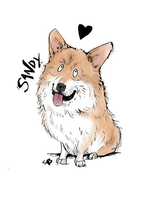 Corgi dog A4 customised print