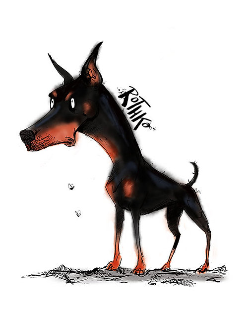 Doberman pinscher A4 customised art print