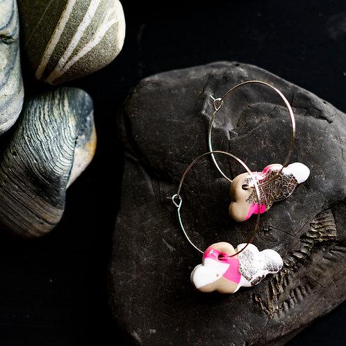 Flamingo Jazz little cloud - Handmade polymer clay earrings
