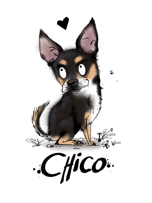 Customised A4 black and tan Chihuahua art print