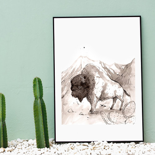 Lost Bison A4 Art print