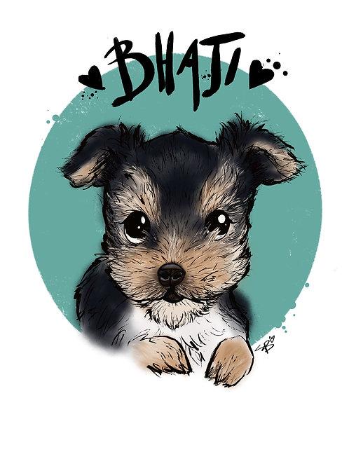Custom Pet portrait print (A4)
