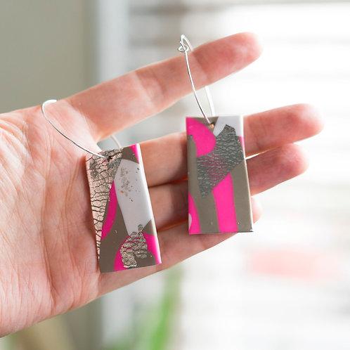 Flamingo Jazz - Hand made polymer clay earrings