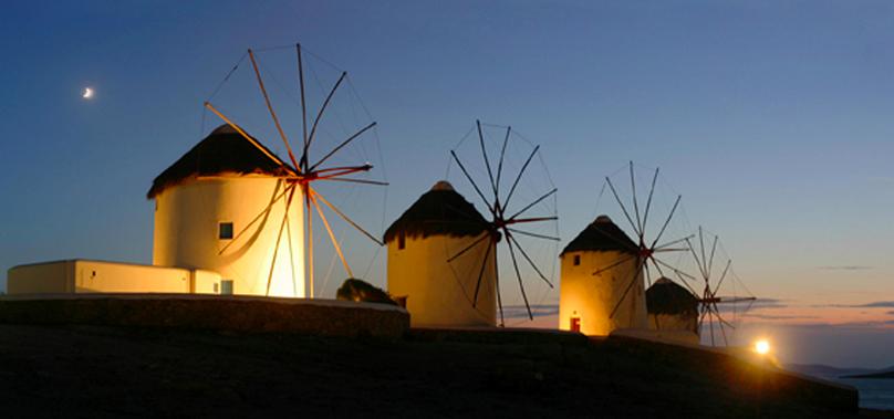 Windmills at night