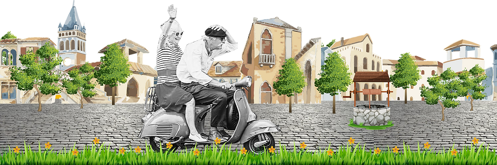 old couple vespa italy extra wide villag