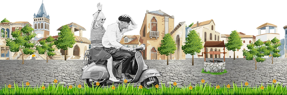 old couple vespa italy extra wide villag