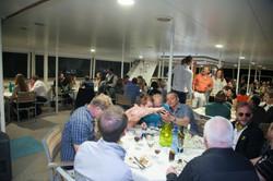 CSA dinner setup with people