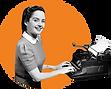 typewriter outside woman orange.png