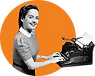 typewriter outside woman orange.png