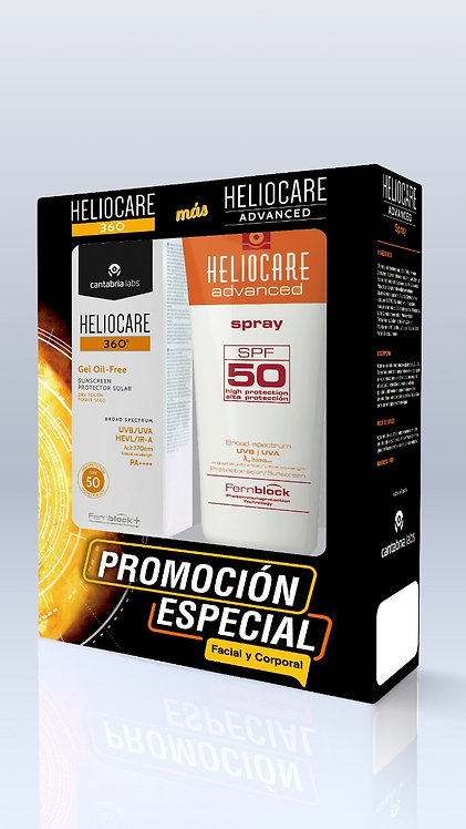 KIT HELIOCARE 360 GEL OIL FREE TOQUE SECO SPF50 + HELIOCARE SPRAY SPF 50