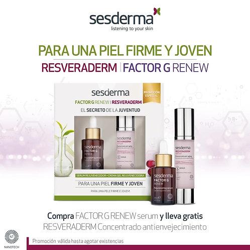 KIT SECRETO DE LA JUVENTUD ( serum factor G 30 ml gratis resveraderm crema gel )
