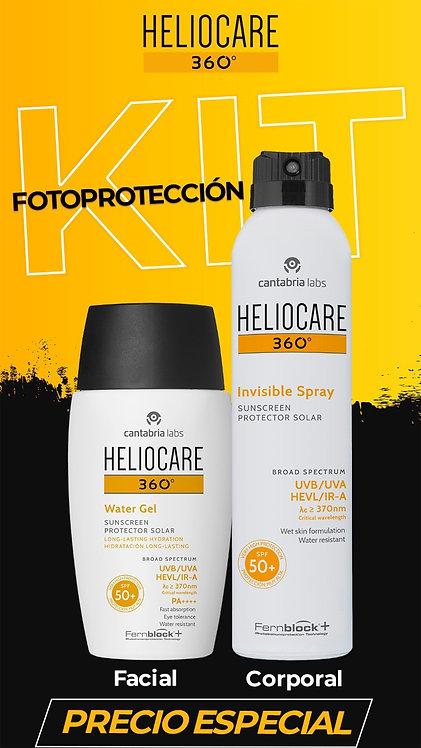 KIT HELIOCARE 360 WATER GEL FACIAL + SPRAY CORPORAL INVISIBLE DE 200ml