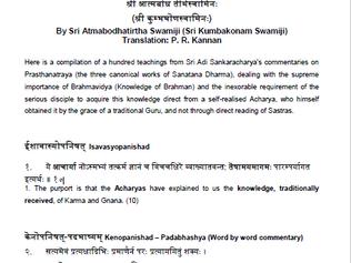 SATOPADESAS – A HUNDRED TEACHINGS From Sri Adi Sankaracharya's Commentaries on Prasthanatraya