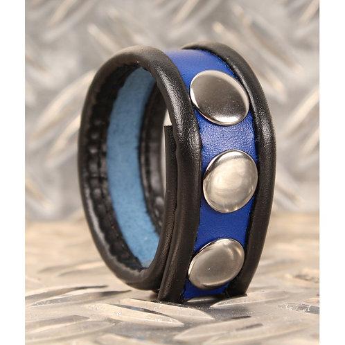Cockring en cuir - Noir/Bleu