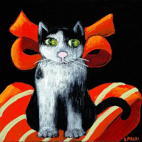 Gatto con fiocco rosso