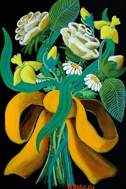 Mazzo di fiori con un nastro