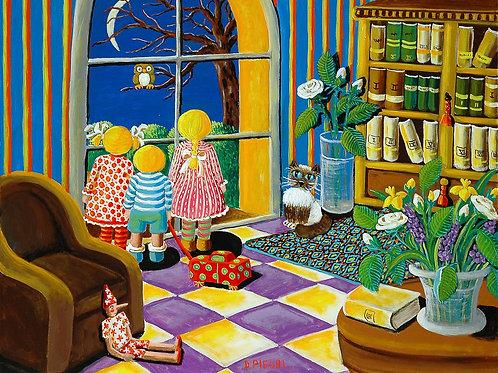 Bambini che guardano la notte da una finestra