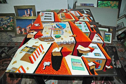 Tavolo con tetti dipinti