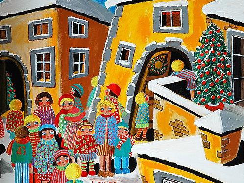 Bambini in piazza nonostante la neve