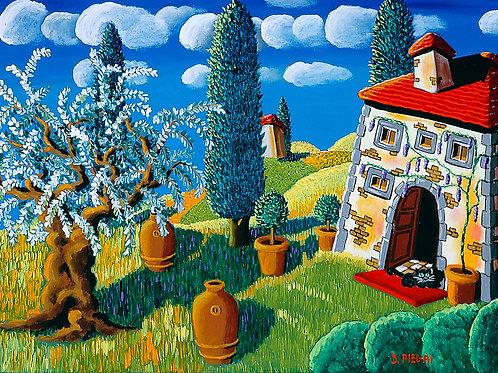 Casa di campagna con cipressi e un ulivo