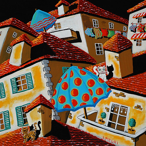 Gatti,tetti, ombrelloni e panni stesi