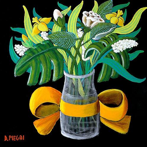 Vaso di fiori con nastro