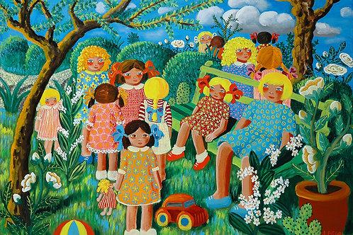 Bambini in giardino d'estate