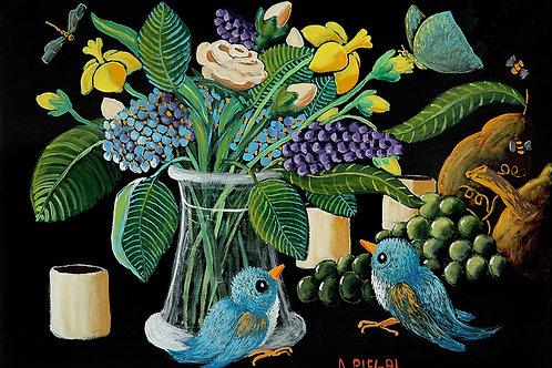 Frutta, fiori e due uccellini blu
